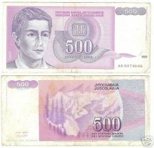 Buy YUGOSLOVIA 500 DINERA HIGH DENOMINATION NOTE~NICE~F/S~