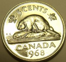 Buy Proof Canada 1968 5 Cents~Beaver Nickel~We Have Canadian Coins~Free Shipping