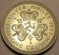 Buy Unc Isle Of Man 1977 Crown~The Queens Silver Jubilee~Triskeles~Free Shipping