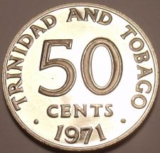Buy Rare Proof Trinidad & Tobago 1971 50 Cents~Only 12,000 Minted~Free Shipping