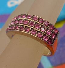 Buy sz 5 Sterling 925 Silver Ring Wedding Band Style w/ 3 Rows of 10 Pink Ice Stones