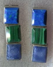 Buy Post Earrings : Sterling Taxco Mexico 3 Hinged Stones Malachite & 2 Blue Stones