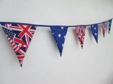 Buy American & British Fabric Bunting Double Sided Banner 6 Flags by 100 cm 39 inch