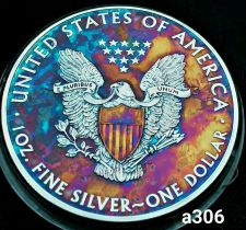 Buy High Grade Rainbow Toned Silver American Eagle 1oz fine silver uncirc. #a306