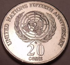 Buy Unc Australia 1995 20 Cents~50th Anniversary United Nations~Elizabeth II~Fr/Ship