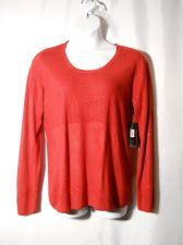 Buy (NWT) Debbie Morgan Red Long Sleeve Scoop Neck Sequins Sweater Size XL