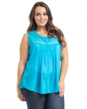 Buy Roman Blue Sleeveless Scoop Neck Lace Yoke Button Babydoll Sheer Top Size 1X-3X