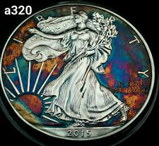 Buy High Grade Rainbow Toned Silver American Eagle 1oz fine silver uncirc. #a320