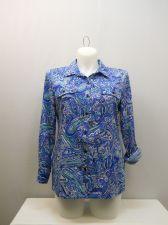 Buy SIZE L Womens Button Down Shirt NOTATIONS Blue Paisley Collared Long Sleeves