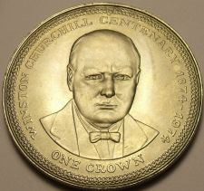Buy Unc Isle Of Man 1974 Crown~Winston Churchill Centennial Of Birth~45K Minted~Fr/S