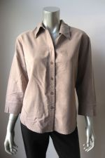 Buy Apparenza NEW Women'ts Taupe Silk Feel Solid 3/4 Sleeves Button Down Shirt L PR