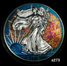 Buy 2015 Rainbow Toned Silver American Eagle Coin 1 ounce silver uncirculated #a273
