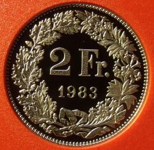 Buy Rare Proof Switzerland 1983 2 Francs~Only 11,000 Minted~Helvetia~Free Shipping