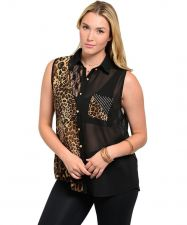 Buy Dila Jeweled Black Animal Sleeveless Collar Button Down Sheer Top Size 1X-3X