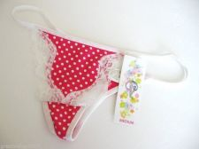 Buy A0381 Classified White Polka Dots With Lace Touch Pink Cotton Thong Sml Med New