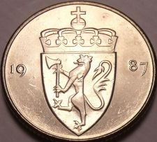 Buy Gem Unc Norway 1987 50 Ore~Crowned Shield~Excellent~Free Shipping*