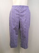 Buy Alfred Dunner Periwinkle Geometric Elastic Back Straight Legs Capris Size 18
