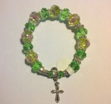 Buy One of a kind Handmade Rosary Bracelet with Chinese Translucent Crystal Beads