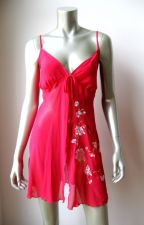 Buy California Dynasty NEW Chiffon Embroidery Flower Front Open Chemise Thong Set 1X