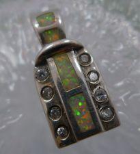 Buy Vintage AK (Anne Klein) Sterling Opal & CZz 20mm Tall Pendant