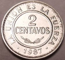 Buy Gem Unc Bolivia 1987 2 Centavos~Stainless Steel Coin~Only Year Minted~Free Ship