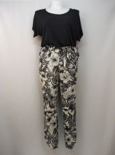 Buy Fever Women's Jumpsuit Size M Black Floral Scoop Neck Tapered Leg Dolman Sleeves
