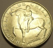 Buy Unc Chile 1971 5 Escudos~Horse~Lautaro~Araucanian Indian~1st Year~Free Shipping*
