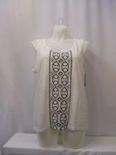 Buy Style &Co. T-Shirt Plus Size 1X White Embellished Beaded Embroidery Sleeveless