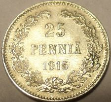 Buy Au/Unc Silver Findland 1915 25 Pennia~See Our Store For Silver Coins~Free Ship