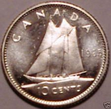 Buy Unc Silver Canada 1965 10 Cents~Free Shipping
