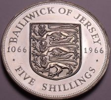 Buy Huge Proof Jersey 1966 5 Shillings~Norman Conquest~Only 30,000 Minted~Free Ship