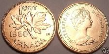 Buy CANADA 1980 UNCIRCULATED CENT~MAPLE LEAF CENT~FREE SHIP