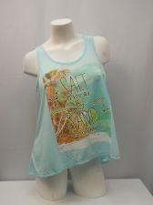 Buy No Boundaries Women's Cami Tank Top Size L Mint Lace Yoke Sleeveless Hi-Lo Hem
