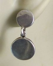 Buy Post Earrings : Vintage Sterling Double Pill Shape - Solid 10 Grams of Silver