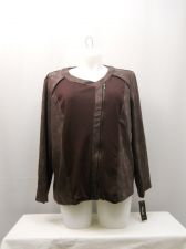 Buy PLUS SIZE 3X Womens Moto Jacket STYLE&CO Solid Faux Leather Trim Long Sleeves