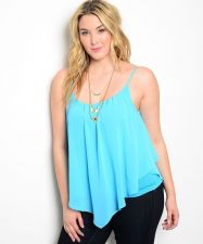 Buy Zenobia Turquoise Straps Sheer Popover Over Knit Camisole Top Size 1XL-3XL