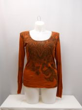 Buy Weavers Women's T-Shirt Size XL Rust Lace Trim Long Sleeves Scoop Neck Crinkle