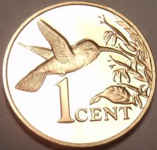 Buy Rare Proof Trinidad & Tobago 1974 Cent~Hummingbird~Only 14,000 Minted~Free Ship