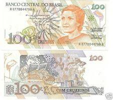 Buy BRAZIL 100 CRUZEIROS MULTI-COLORED GEM UNC NOTE~FREE SH