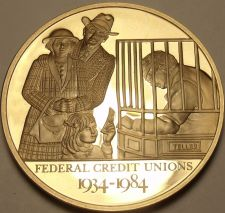 Buy 44.2mm Solid Bronze Proof Federal Credit Union 50 Years Of Service Medallion~F/S