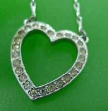 Buy Vintage Sterling Rhinestone Heart Pendant on 16 inch Including Chain & Heart