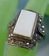 Buy sz 7 Ring : sterling 925 silver vintage MOP Mother of Pearl Marcasite