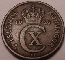 Buy Scarce Iceland 1926 HCN-GJ 2 Aurar~1st Year Ever Minted~Nice~Free Shipping*