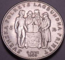 Buy Silver Sweden 1959-TS 5 Kronor~150th Anniversary Of The Constitution~Free Ship