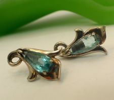 Buy Screw Back Earrings : Vintage Gold Washed Sterling Silver Aqua Blue Glass Flower