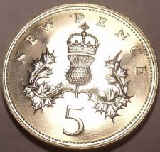 Buy Proof Great Britain 1977 5 New Pence~194,000 Minted~Proofs Are Best~Free Ship