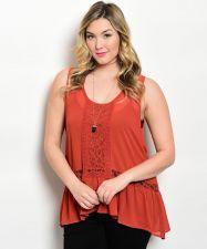 Buy Zenobia Women's Top Rust Lace Trim Sheer Asymmetrical Peplum Sleeveless