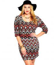 Buy Joseph Q Brown Chevron Print 3/4 Sleeves Scoop Neck Dress Jr. Plus Size 1XL-3XL