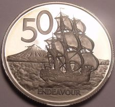Buy Rare Proof New Zealand 1975 50 Cents~Only 10,000 Minted~H.M.S. Endeavour~Free Sh
