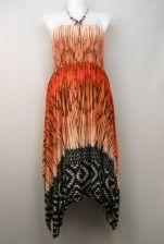 Buy Magic Women's Halter Dress Gypsy Boho Plus Size 2X Print Beaded Handkerchief Hem